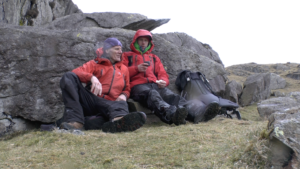Craig and Rob Matheson at Burnt Crag in the rain